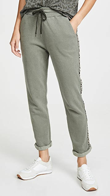 SUNDRY Trouser Sweatpants with Leopard Trim