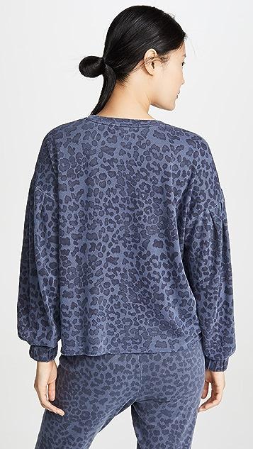 SUNDRY 豹纹抽褶套头衫