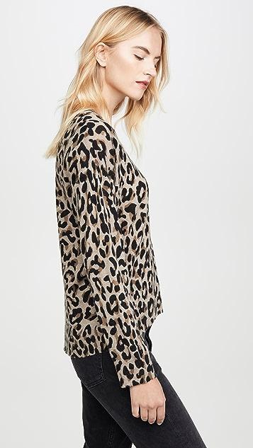 SUNDRY Свитер с округлым вырезом и леопардовым принтом