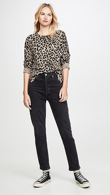 SUNDRY Leopard Crew Neck Sweater