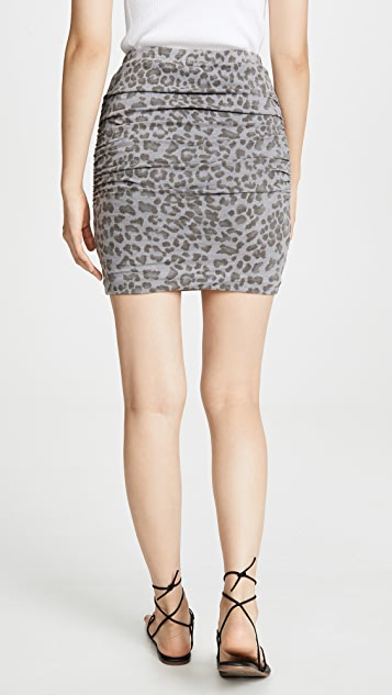 SUNDRY Leopard Ruched Skirt