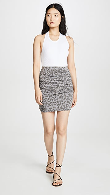 SUNDRY 豹纹抽褶半身裙