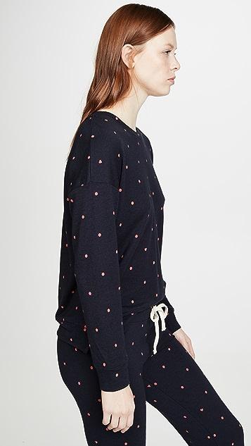 SUNDRY 圆点花纹高低不对称下摆圆领运动衫