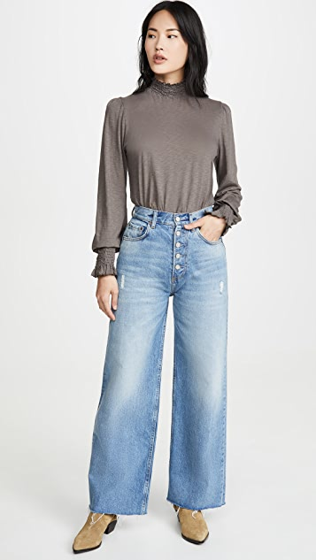 SUNDRY Smocked Mock Neck Top with Puff Sleeves