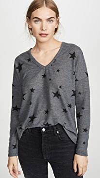 Star Print V Neck Easy Sweater