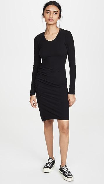 SUNDRY Long Sleeve Ruched Slit Dress