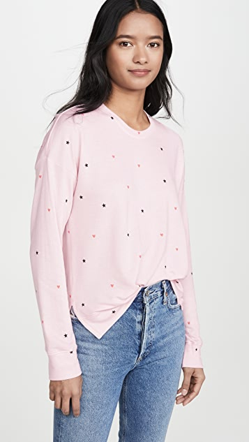 SUNDRY Stars & Hearts High Low Sweatshirt