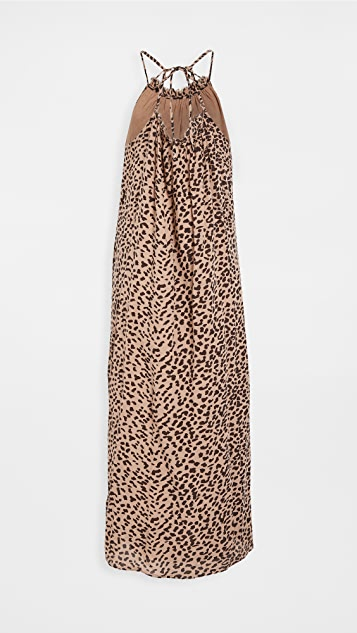 SUNDRY Leopard Strappy Maxi Dress