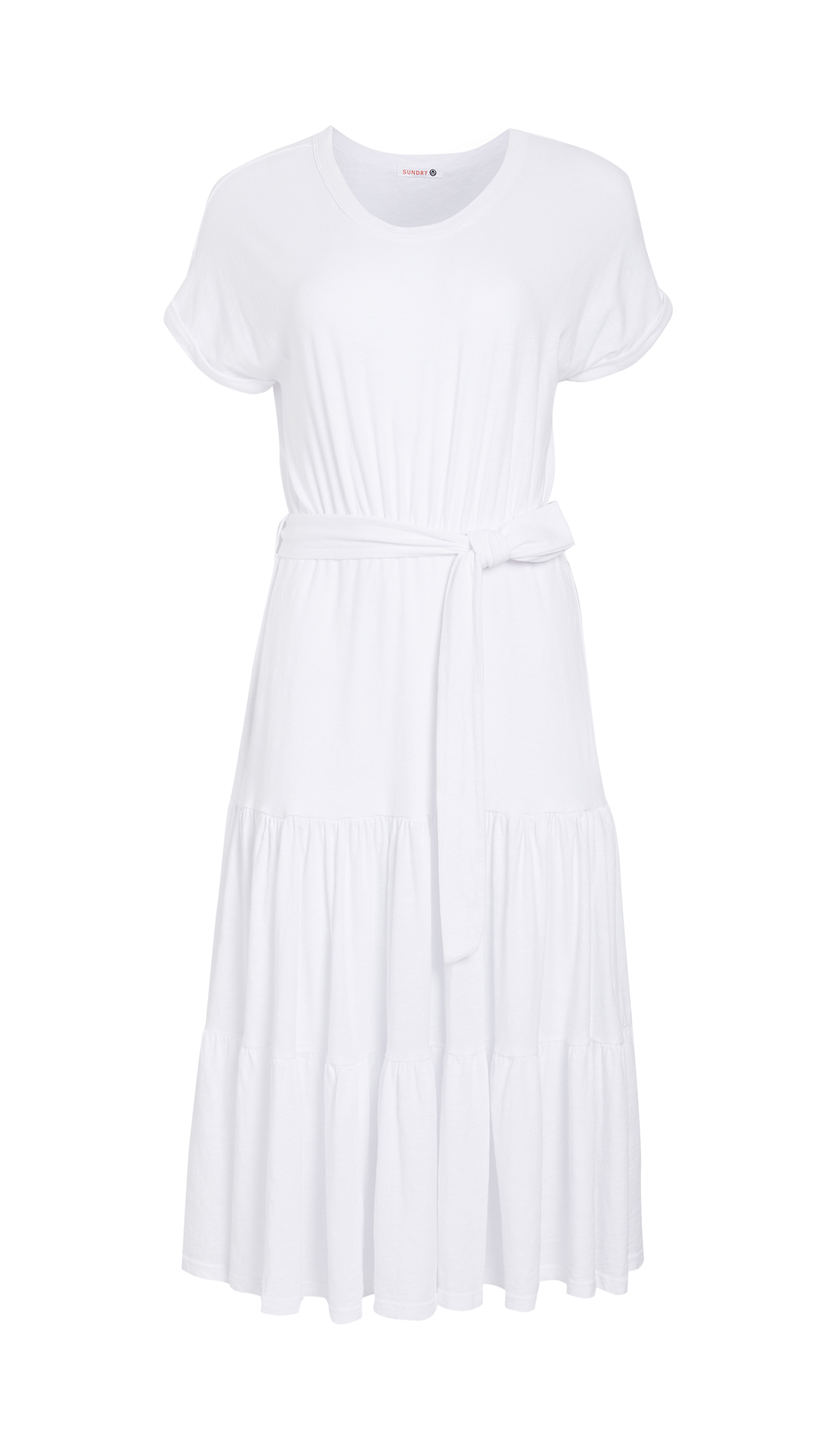 SUNDRY Roll Cuff Dress with Tied Waist