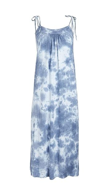 SUNDRY Slit Midi Dress with Tie Straps