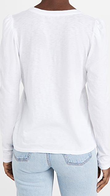 SUNDRY 绒球肩部长袖 T 恤