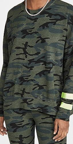 SUNDRY - Arm Stripe Camo Sweatshirt