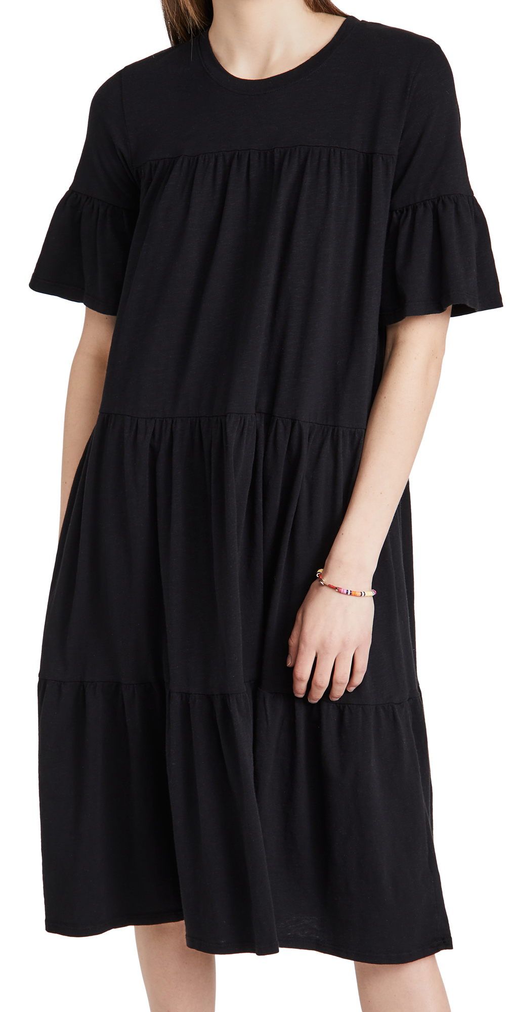 SUNDRY Tiered Babydoll Midi Dress