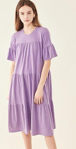SUNDRY - Tiered Babydoll Midi Dress
