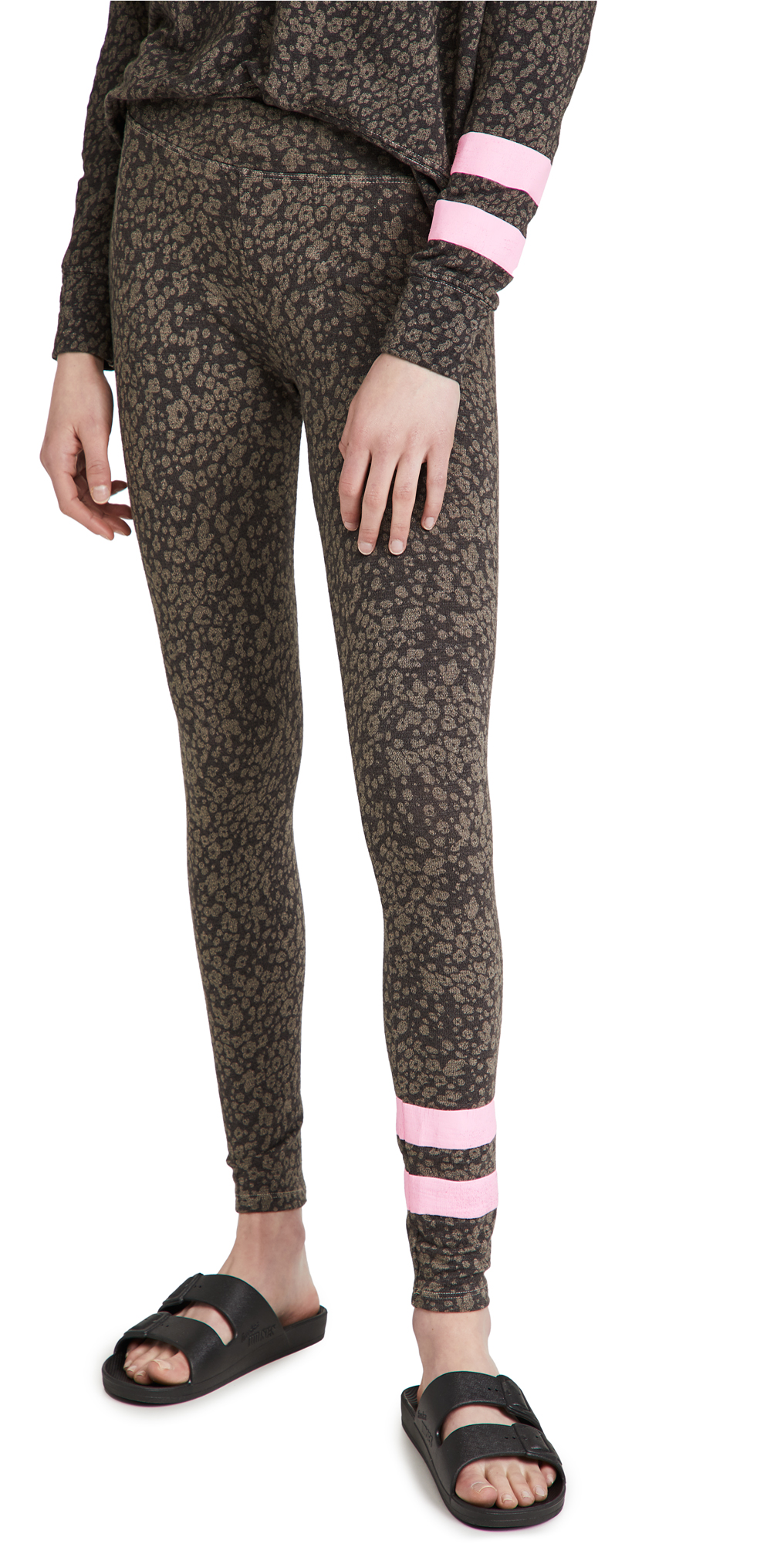 SUNDRY Stripe Floral Yoga Pants