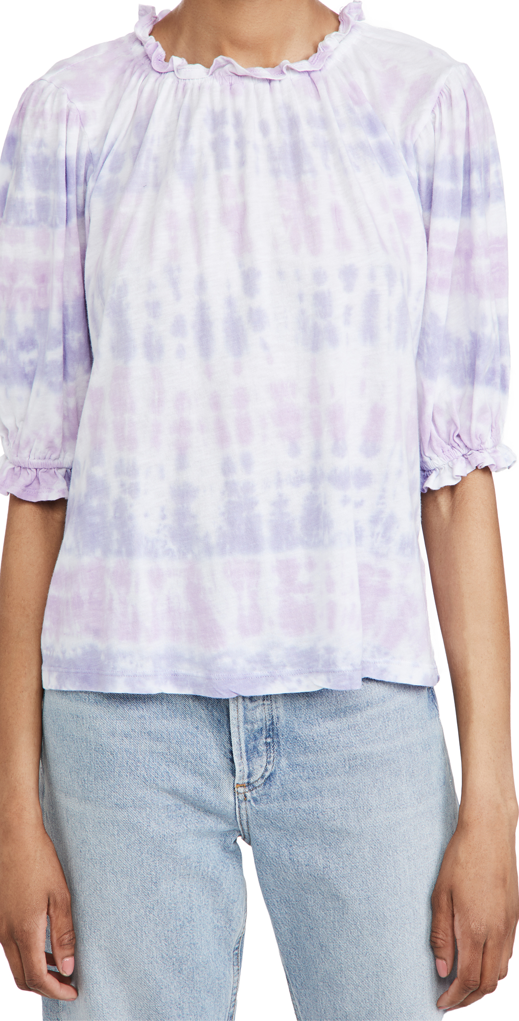 SUNDRY Sherbet Bubble Sleeve Top