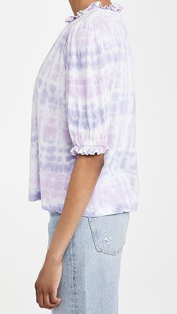 SUNDRY Sherbet Bubble Sleeve Top