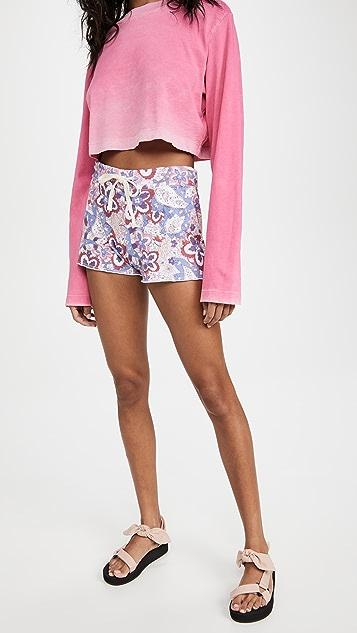 SUNDRY Paisley Cut Off Shorts