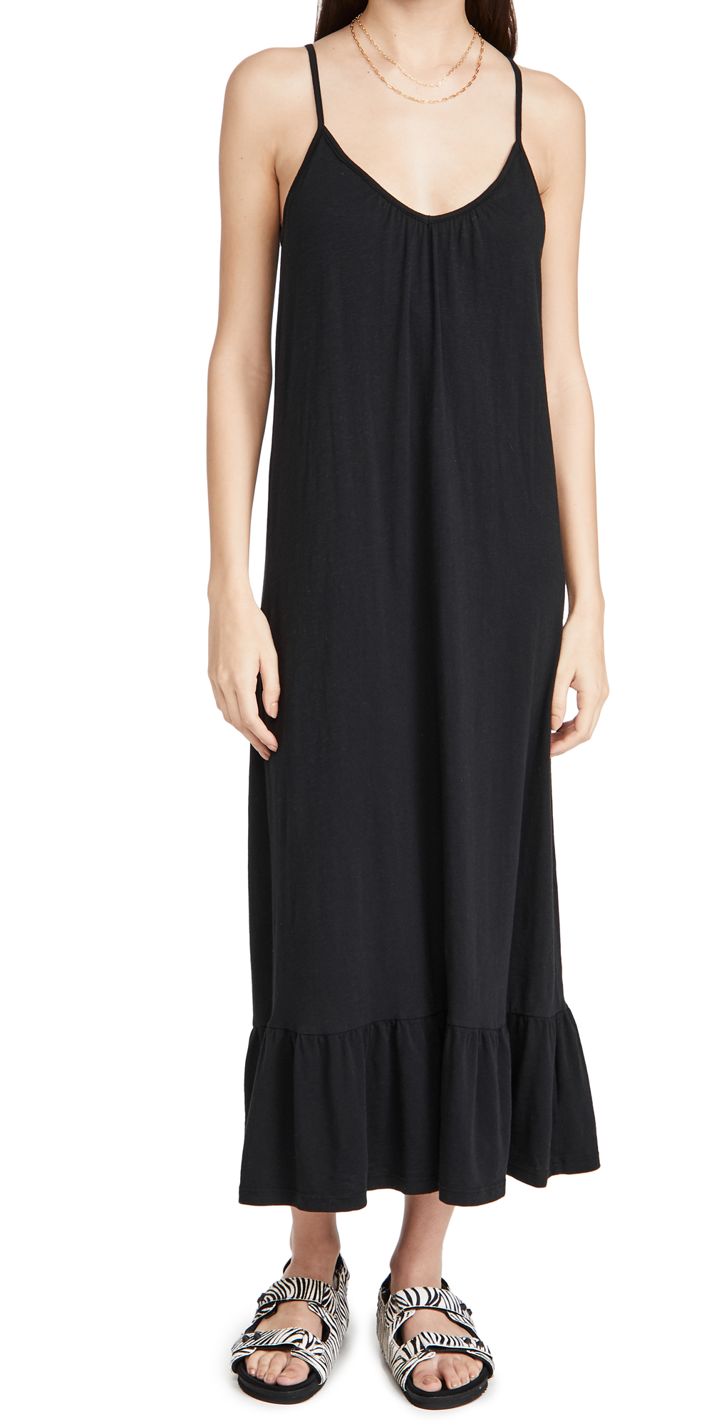 SUNDRY V Neck Strap Maxi Dress