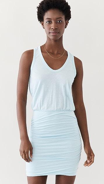 SUNDRY U Neck Slubbed Dress
