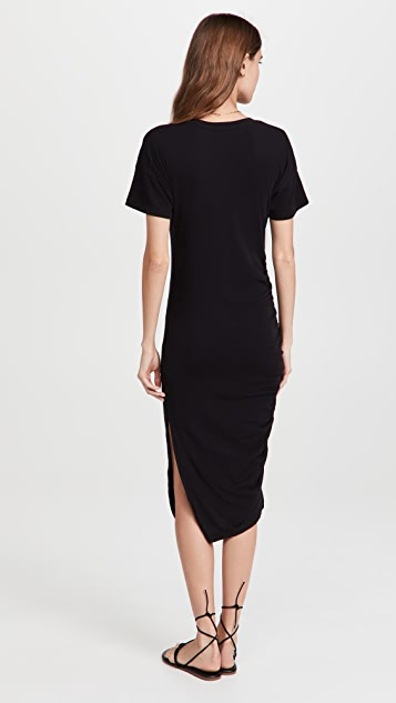 SUNDRY Side Shirred Midi Dress