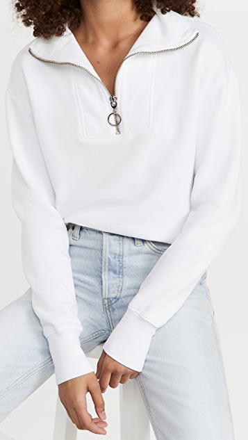 SUNDRY 半长拉链开襟长袖有领套头衫