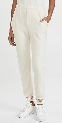 SUNDRY - 条纹裤管口仿羊羔绒慢跑长裤