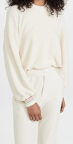 SUNDRY - 条纹袖口仿羊羔绒运动衫