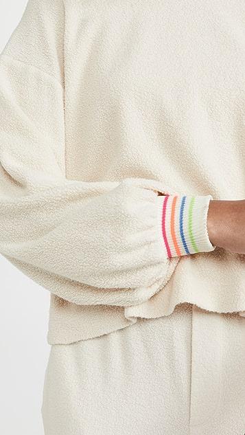 SUNDRY Stripe Cuff Faux Sherpa Sweatshirt