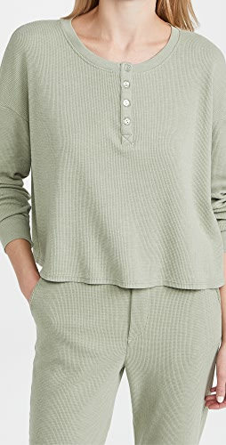 SUNDRY - 蜂窝纹宽松亨利衫
