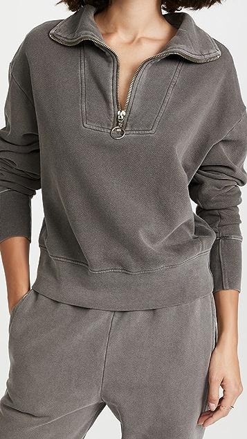 SUNDRY Half Zip Collared Long Sleeve Pullover