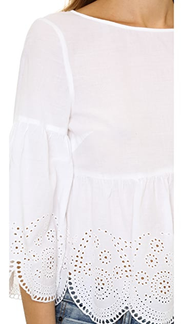 SUNO Eyelet Lace Top