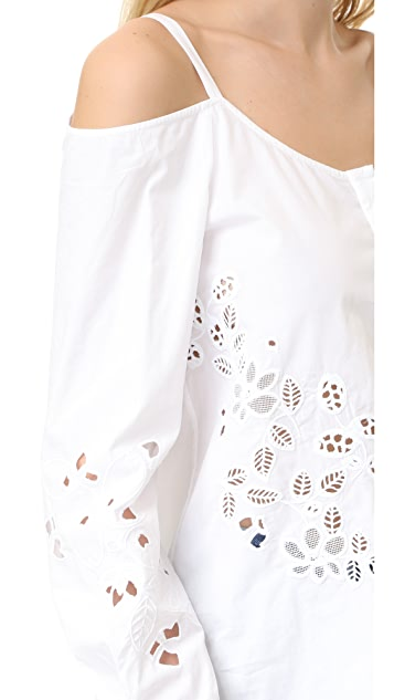 SUNO Off Shoulder Button Shirt
