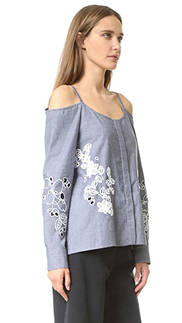 SUNO Off Shoulder Embroidered Top