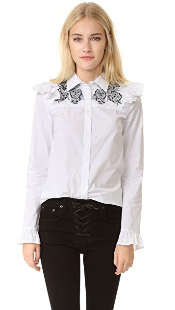 SUNO Ruffle Shoulder Top