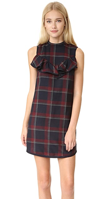SUNO Plaid Ruffle Dress