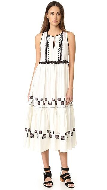SUNO Cotton Leaf Maxi Dress