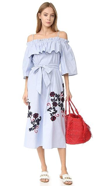 SUNO Off Shoulder Flare Dress