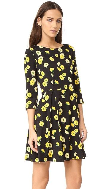 SUNO 3/4 Sleeve Fit & Flare Dress