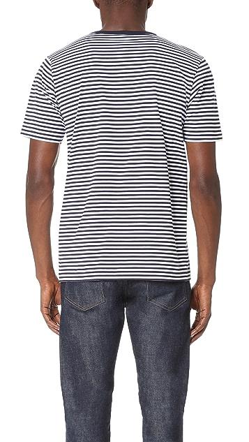 Sunspel Short Sleeve Striped Crew Neck Tee