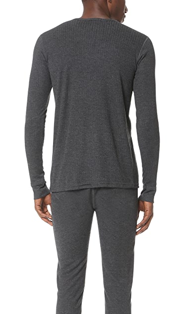 Sunspel Thermal Long Sleeve Crew Neck Shirt