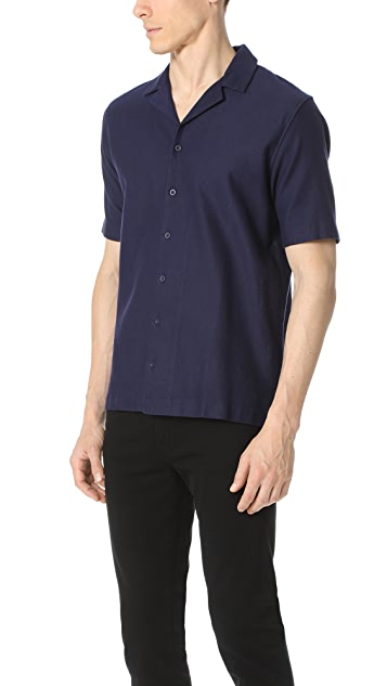 Sunspel Revere Collar Short Sleeve Camp Shirt