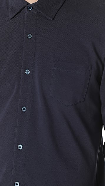 Sunspel Long Sleeve Pique Polo Shirt