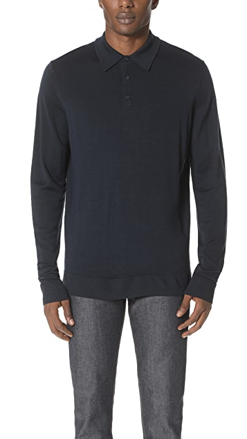 Sunspel Long Sleeve Merino Polo
