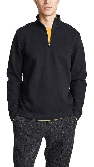 Sunspel Long Sleeve Half Zip Sweatshirt