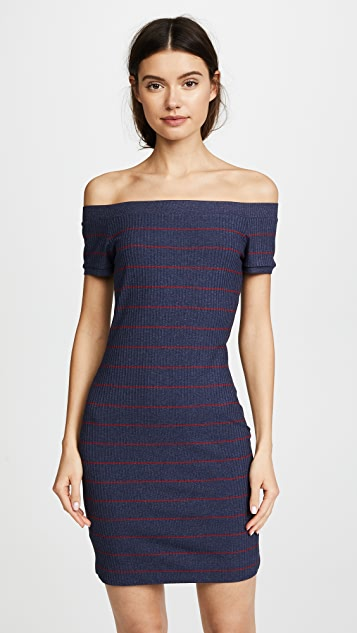 Susana Monaco Francesca Off the Shoulder Dress - Indigo/Red