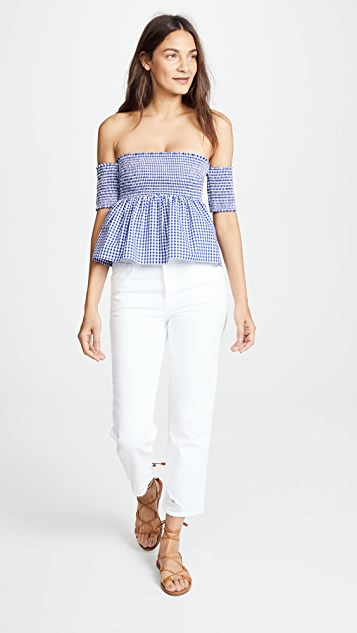 Susana Monaco Smocked Off Shoulder Top