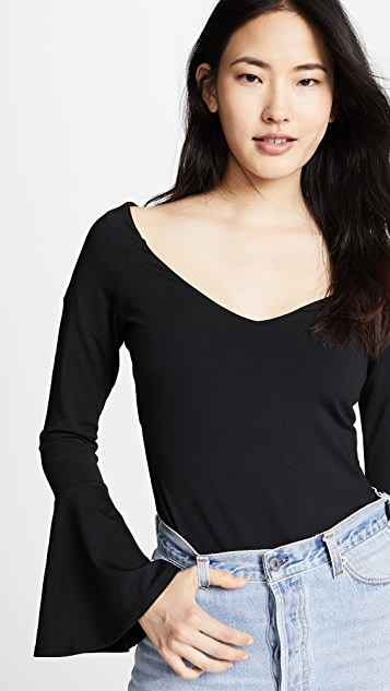 Susana Monaco Off Shoulder Flare Sleeve Top
