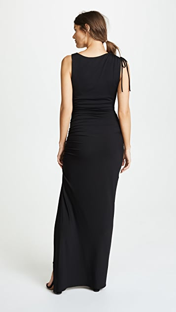 Susana Monaco Gathered Slit Maxi Dress