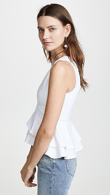 Susana Monaco Топ с V-образным вырезом и оборками
